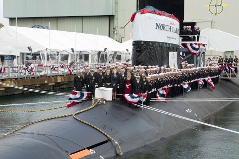 The crew of the USS North Dakota photographed at the Christening ceremony on Nov. 2, 2013 in Groton, Conn.