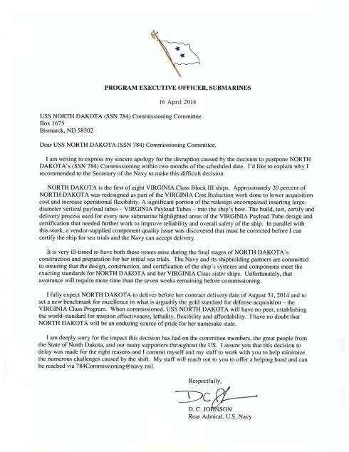 PEO Letter to 784 Commissioning Committee
