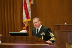USS ND Chief of Boat Addressing the Legislature